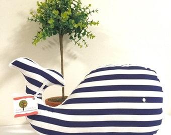 Navy & White Striped Whale Plush Pillow, Whale Pillow, Whale, Nautical Baby Gift, Nautical Nursery, Nursery Decor