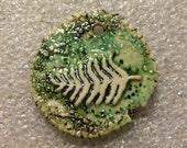 Fern Leaf Ceramic pendant handmade artisan porcelain jewelry component