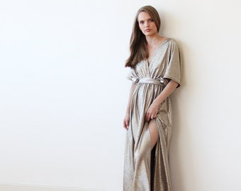 Metallic Gold Bat-Sleeve Maxi Dress 1105.