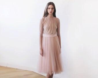 Tulle midi blush-pink bridesmaids skirt, Knee length pink tulle skirt