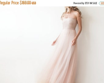 Pink sequin strapless tulle gown , Floor length tulle dress , Bridesmaids pink maxi dress