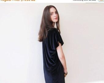 Mini Oversize Velvet Dress, Short black dress, Black velvet dress