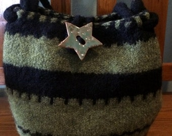 Lime Green and Black Knit Felted Wool Purse with Star Pottery Button
