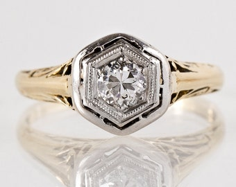 Antique Engagement Ring - Antique Edwardian Ring - Antique 14k Two-Tone Filigree Diamond Engagement Ring