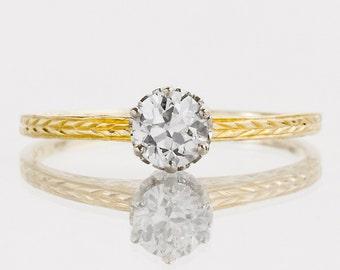 Antique Engagement Ring - Antique 1910's 14k Two-Tone Diamond Solitaire Engagement Ring