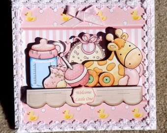 Baby Girl 3D Handmade Greeting Card  with Multi Paper Stacking Technique