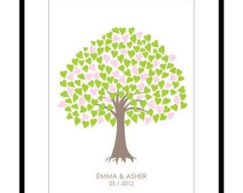 Wedding Guest Book Alternative - Custom Tree Guest Book Print - 18x24in - 150 Signatures -  Free Gift with Purchase