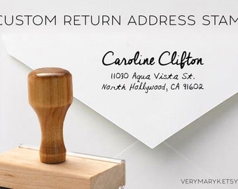 handwritten wooden return address stamp! custom stamp, personalized stamp, rubber stamp, wood stamp!