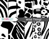 Digital Paper - Wild Thing Animal / Zebra / Giraffe / Leopard Print - Instant Download