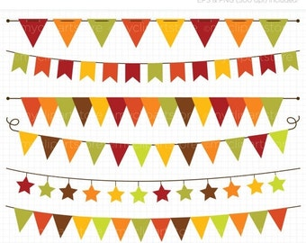 50% OFF SALE Bunting - Autumn / Fall Bunting Clipart - Thanksgiving Banner Flags Clip Art / Digital Clipart - Instant Download