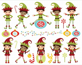 Clipart - Christmas Elf / Cute Elves - Digital Clip Art (Instant Download)