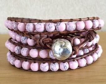 Pink Magnesite Wrap Bracelet, Bohemian
