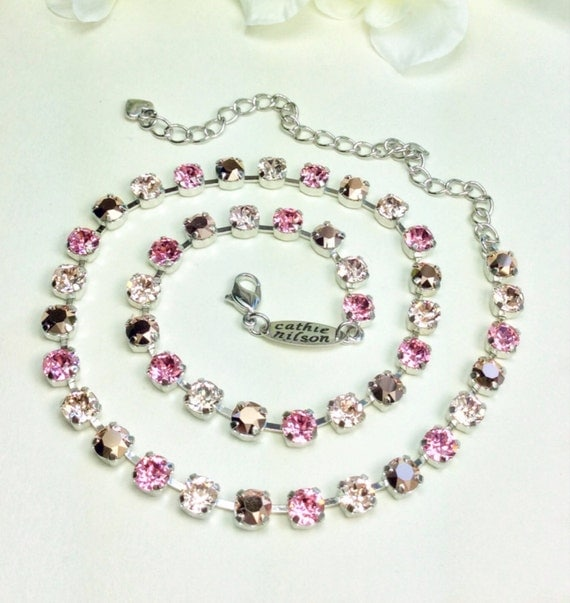 """Swarovski Crystal Necklace -  Designer Inspired -  Dainty 6mm """" Rosy Horizons"""" Necklace - Great Bridesmaid Gift - FREE SHIPPING!"""