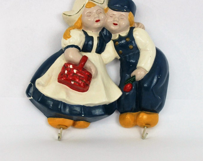 Vintage Pair of Chalk-Ware Dutch Boy and Girl