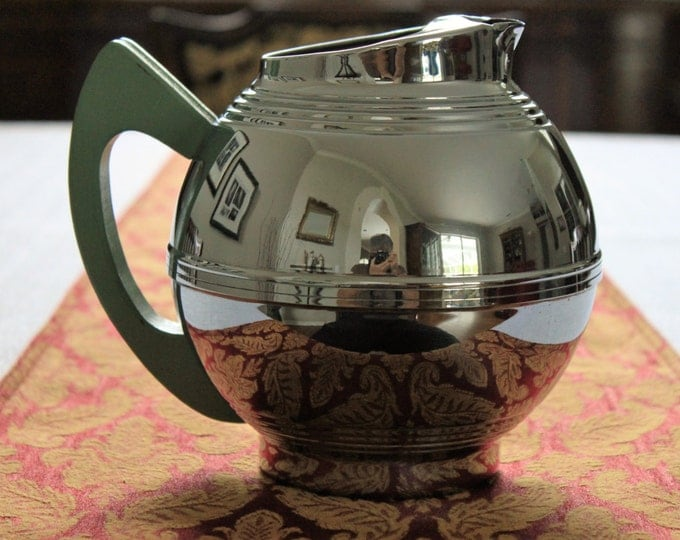 Mid-century Art Deco Round Chrome Pitcher with Green Wooden Handle