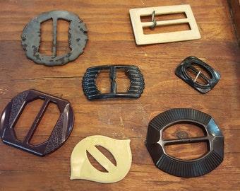 Lot of Seven Plastic Vintage Belt Buckles