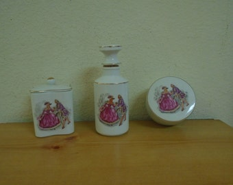 Three Piece French Porcelain Hand Painted Dresser Items / Marked and Numbered