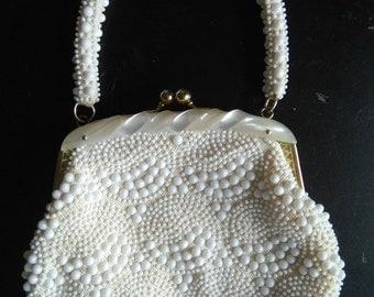 Vintage white beaded purse