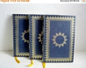 Sale 50 % Off Vintage Set of 3 Large ROYAL BLUE BOOKS, Eugène Sue, Les Mystères de Paris or The Mysteries of Paris. Illustrated Book Stack o