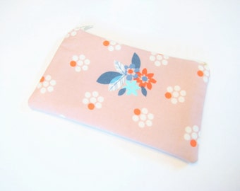 Cosmetic Bag, Floral Zippered Pouch, Gadget Accessory, Cell Phone Pouch