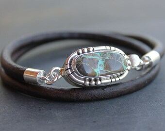 RESERVED Mens Turquoise Bracelet sterling silver Leather mens jewelry bracelet