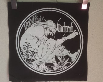 WITCHCRAFT BACK PATCH Black Metal Punk Patch on Black Canvas