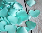 Heart shaped AQUA satin rose petals - for wedding basket, aisle decor, anniversary, aisle, or date night, 11 petals, ready to ship