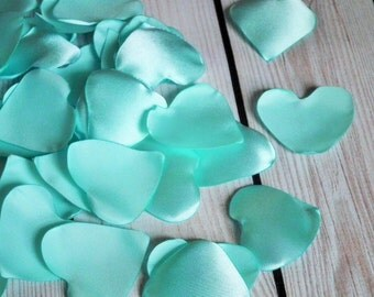 Heart shaped AQUA satin rose petals - for wedding basket, aisle decor, anniversary, aisle, or date night, ready to ship