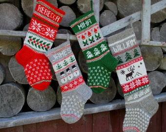 Set of 4 Christmas Stocking Personalized Hand knit Wool Stocking Gray Red White Blue with  deer Santa Snowflakes Trees Snowman Gnomes