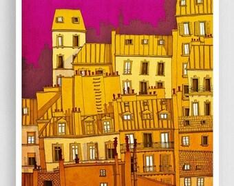 20% OFF SALE: Paris,Montmartre (colored version) - Paris illustration Art illustration Paris art poster Paris decor Living room art Wall dec
