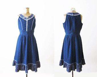 Gunne Sax Dress / Prairie Dress / 70s Denim Lace Up Sundress / Medium