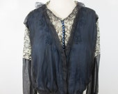 Black Silk Chiffon 1920-30's Blouse over Wedgwood Blue Silk with Hand Embroidered White on Black Net