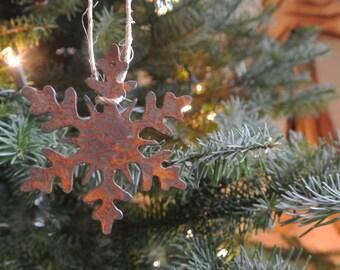 "Set of 3 Rusty Metal SNOWFLAKE Ornaments - 4"" Tall"