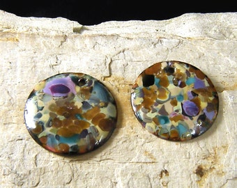Torched  Enameled Copper Disk-Cobble Stone-Bohemian Beads-Boho
