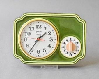 Vintage Peter clock, Peter wall clock, 70s clock German, green wall clock 70s Mid-Century
