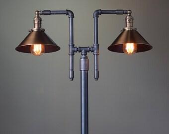 Handmade Floor Lamp - Industrial Floor Lamp - Aged Brass - Pipe Floor Lamp