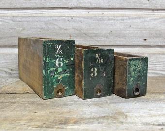 Dark Green Hardware Cabinet Drawers--Industrial Storage Box