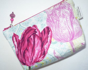 Floral cosmetic bag, pouch, make up bag, toiletry bag, small, pink, tulips