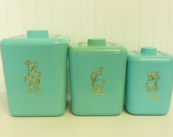 1950s Turquoise Cols Plastic Lustro Ware Kitchen Canister Set, Lustroware Plastic - Vintage Travel Trailer and Home Decor