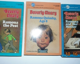 Vintage set of three Beverly Cleary PB Books 1984 Ramona the pest Ramona and her mother Ramona Quimby Dell Yearling