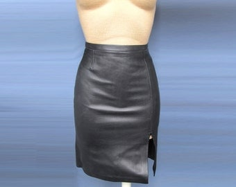 Super Sexy Leather pencil skirt 100% Genuine Black Lambskin leather Dress New