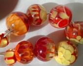 Handmade Glass Artisan Lampwork Beads Set Strand (9) Flower Petal SRA