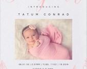 Bonjour Baby Announcement - Photo Baby Announcement - Birth Announcement