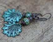 Rustic Boho Tribal 'Shell' earrings  n67- verdigris patina shell . lead and nickel free metal . green patina brass .  ocean beach  ceramic