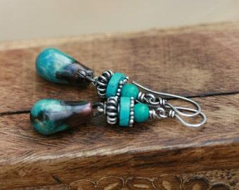 Rustic Bohemin Blue Artisan Ceramic  ' Sovereign Blue ' earrings  n191- Metal . Earthy . Artisan Porcelain . Scorched Earthy Sterling Silver