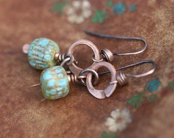 Rustic Acqua Lampwork earrings n.35 - dainty short dangle . dangling from rings. ocean beach summer jewelry . Pacific ocean color . greenish