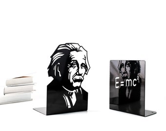 A pair of Unique  Bookends // Einstein and the formula // shelf decor for the smartest books // FREE SHIPPING // perfect gift for a student
