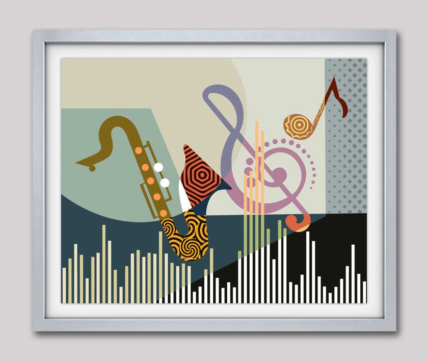 Musical artwork print saxophone art music pop art decor for Pop wall art
