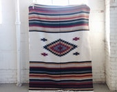 Southwest Mexican Desert Vibes Navajo Textile Rug Blanket Fabric Table Cloth- Cream