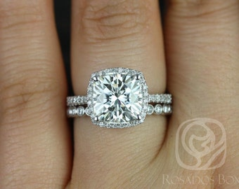 Rosados Box Brandi 9mm & Petite Bubbles 14kt White Gold Cushion F1- Moissanite and Diamonds Halo Wedding Set (Other options available)